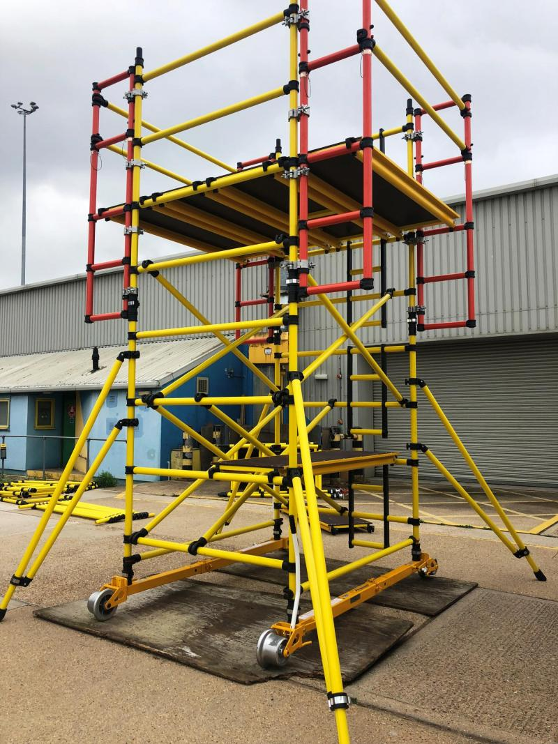 Track – Rail mounted insulated fibreglass cantilevered access tower