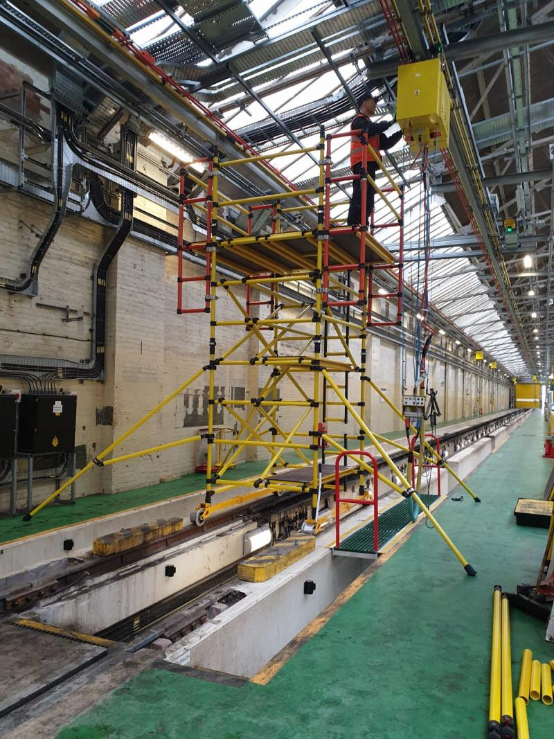 Insulated GRP rail mounted access tower system for London Underground (ECD)